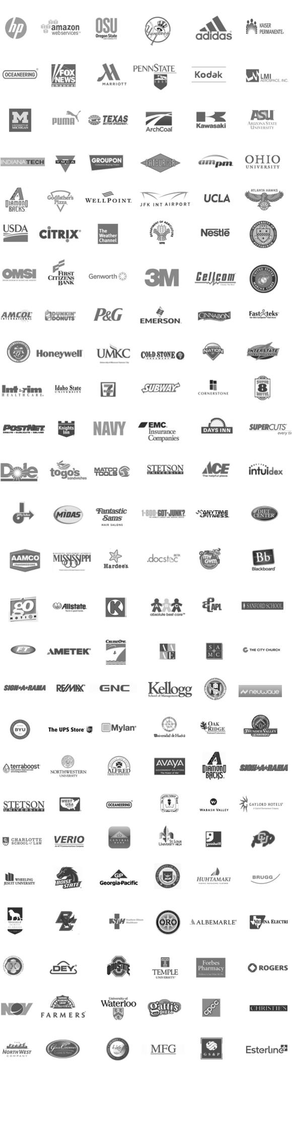Список некоторых клиентов технологий MediaSignage