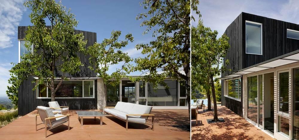 Внутренний двор дома из деревянного настила